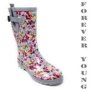 Women Mid Calf Rain boots, #6041, Grey Flowers